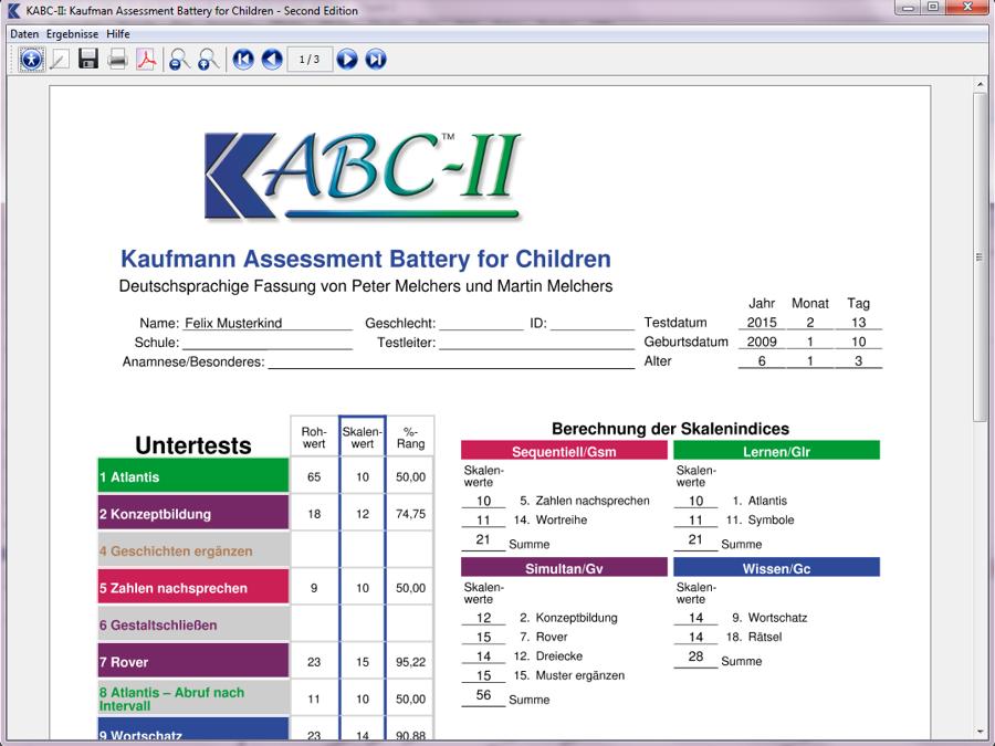 KABC-II - Auswertungsprogramm